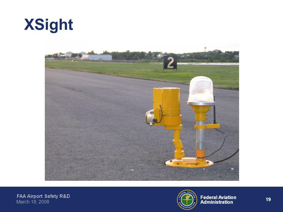 20 Federal Aviation Administration FAA Airport Safety R&D March 18, 2008 XSight