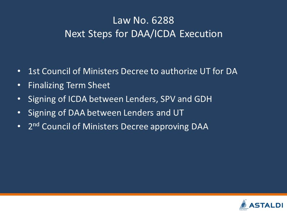 Law No. 6288 Next Steps for DAA/ICDA Execution 1st Council of Ministers Decree to authorize UT for DA Finalizing Term Sheet Signing of ICDA between Le