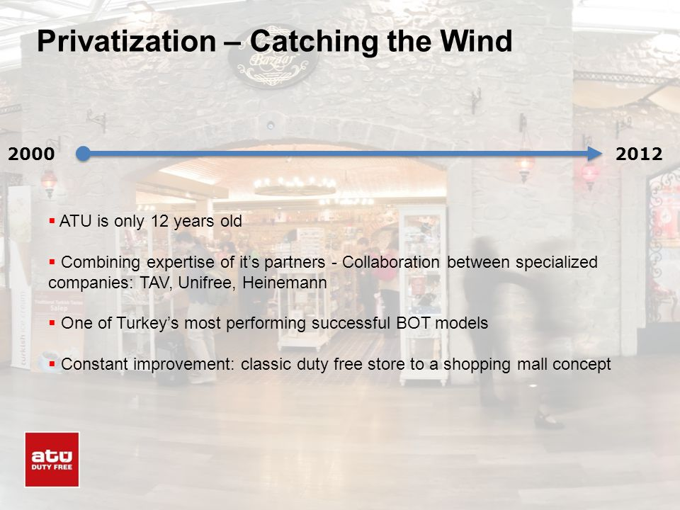 Privatization – Catching the Wind 20002012 ATU is only 12 years old Combining expertise of its partners - Collaboration between specialized companies:
