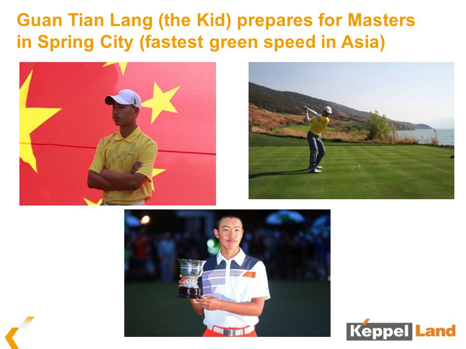 Guan Tian Lang (the Kid) prepares for Masters in Spring City (fastest green speed in Asia)