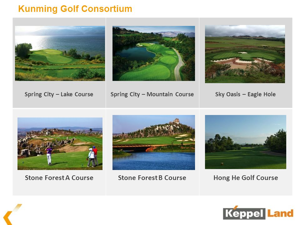 Kunming Golf Consortium Spring City – Lake CourseSpring City – Mountain CourseSky Oasis – Eagle Hole Stone Forest A CourseStone Forest B CourseHong He