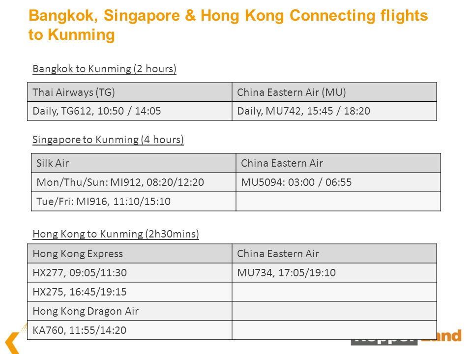 Bangkok, Singapore & Hong Kong Connecting flights to Kunming Silk AirChina Eastern Air Mon/Thu/Sun: MI912, 08:20/12:20MU5094: 03:00 / 06:55 Tue/Fri: MI916, 11:10/15:10 Singapore to Kunming (4 hours) Hong Kong ExpressChina Eastern Air HX277, 09:05/11:30MU734, 17:05/19:10 HX275, 16:45/19:15 Hong Kong Dragon Air KA760, 11:55/14:20 Hong Kong to Kunming (2h30mins) Thai Airways (TG)China Eastern Air (MU) Daily, TG612, 10:50 / 14:05Daily, MU742, 15:45 / 18:20 Bangkok to Kunming (2 hours)