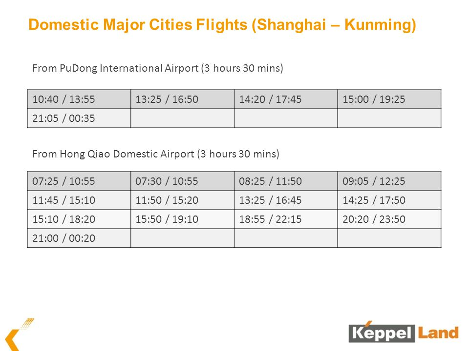 Domestic Major Cities Flights (Shanghai – Kunming) 10:40 / 13:5513:25 / 16:5014:20 / 17:4515:00 / 19:25 21:05 / 00:35 From PuDong International Airpor