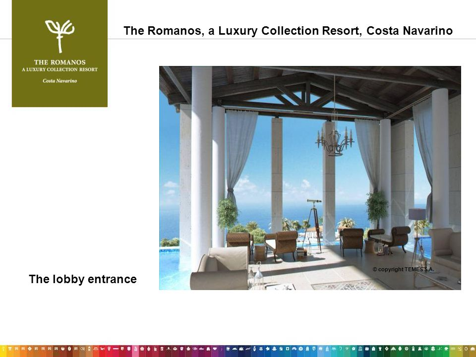 The lobby entrance © copyright TEMES S.A. The Romanos, a Luxury Collection Resort, Costa Navarino