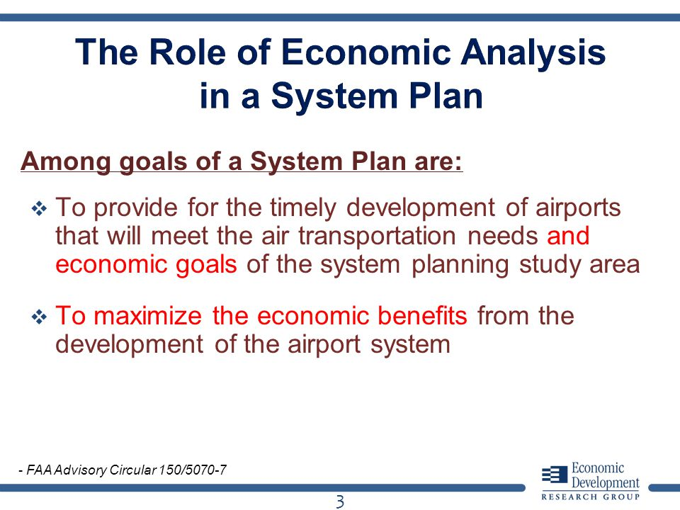 Among goals of a System Plan are: To provide for the timely development of airports that will meet the air transportation needs and economic goals of