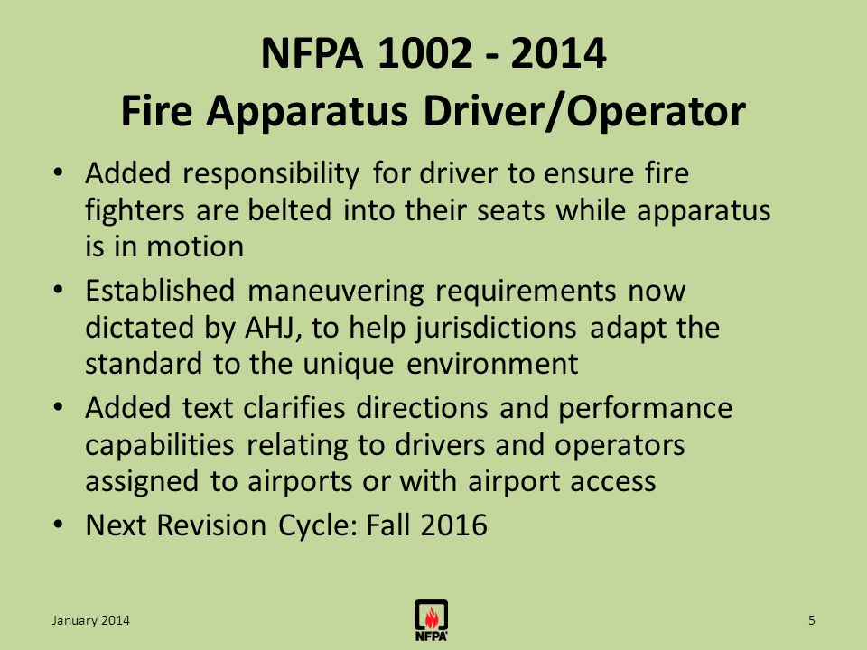 NFPA 1051 - 2012 Wildland Fire Fighting Personnel Completed Job Task Analysis Updated reference and information resources to align with NWCG Public Input Closing Date - January 3, 2014 TC First Draft Meeting - January 9, 2014 Next Edition: Late 2015 16January 2014
