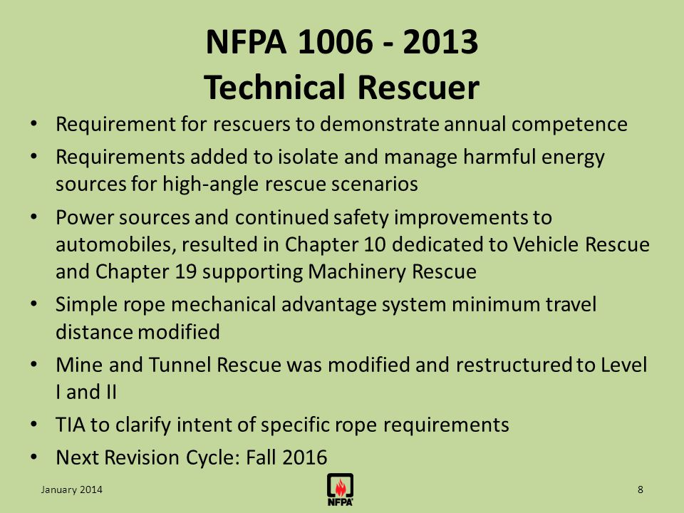 NFPA 1081 - 2012 Industrial Fire Brigade Member Established a timeframe for donning PPE and SCBA and activating PASS alarm devices for Industrial fire brigade personnel performing external or internal duties will now be required to don PPE and SCBA and activate Pass alarm devices within 120 seconds Provided a full range of challenging requirements for the Support Member position qualifying to the industrial fire brigade New definitions for PPE, interior structural fire fighting, emergency response operations, incipient state, RIC, and IMS, updated for consistency to other NFPA standards including NFPA 600, NFPA 1006, and NFPA 1561 Next Revision Cycle: Fall 2017 19January 2014