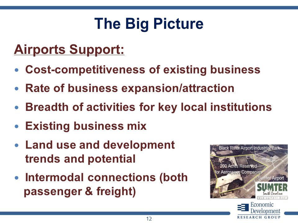 Airports Support: Cost-competitiveness of existing business Rate of business expansion/attraction Breadth of activities for key local institutions Existing business mix Land use and development trends and potential Intermodal connections (both passenger & freight) 12