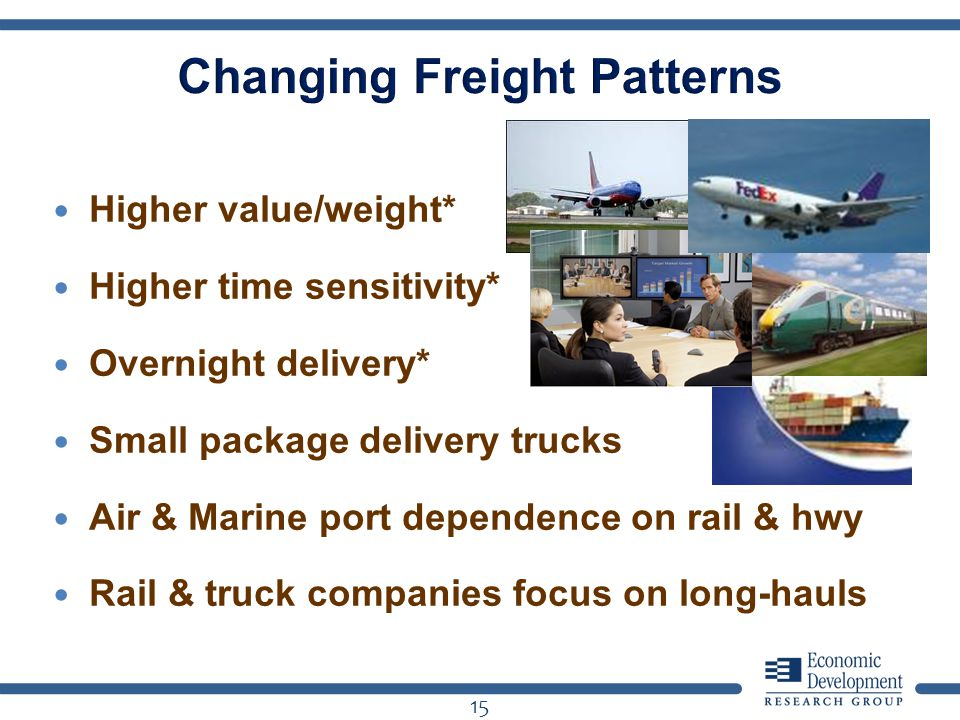 Higher value/weight* Higher time sensitivity* Overnight delivery* Small package delivery trucks Air & Marine port dependence on rail & hwy Rail & truck companies focus on long-hauls 15