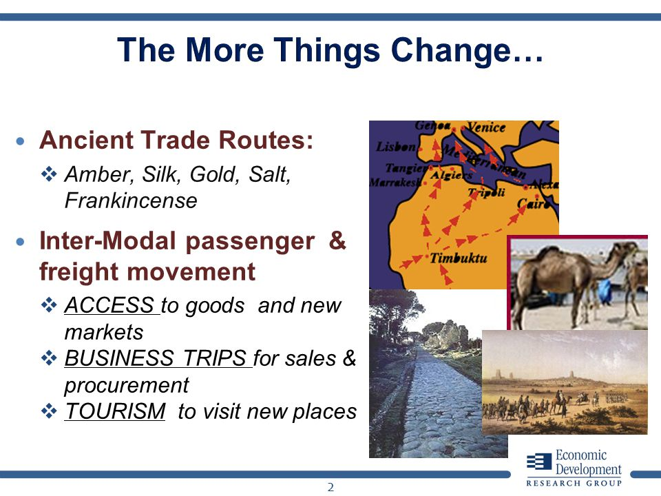 Ancient Trade Routes: Amber, Silk, Gold, Salt, Frankincense Inter-Modal passenger & freight movement ACCESS to goods and new markets BUSINESS TRIPS fo