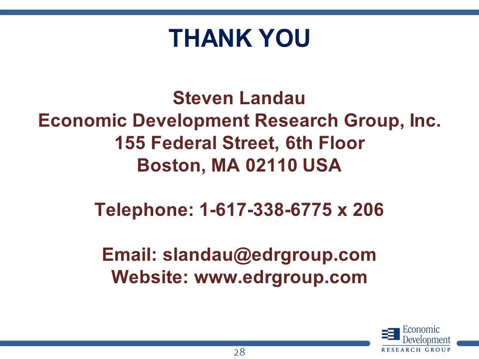 Steven Landau Economic Development Research Group, Inc. 155 Federal Street, 6th Floor Boston, MA 02110 USA Telephone: 1-617-338-6775 x 206 Email: slan