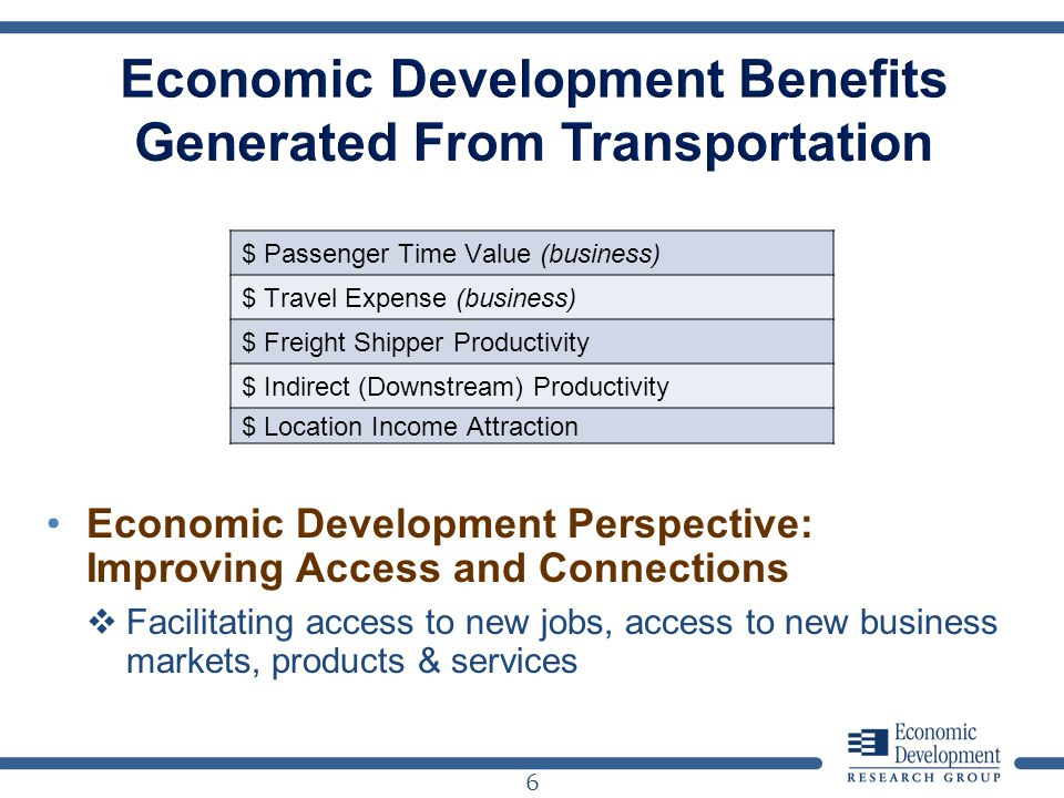 6 $ Passenger Time Value (business) $ Travel Expense (business) $ Freight Shipper Productivity $ Indirect (Downstream) Productivity $ Location Income Attraction Economic Development Perspective: Improving Access and Connections Facilitating access to new jobs, access to new business markets, products & services