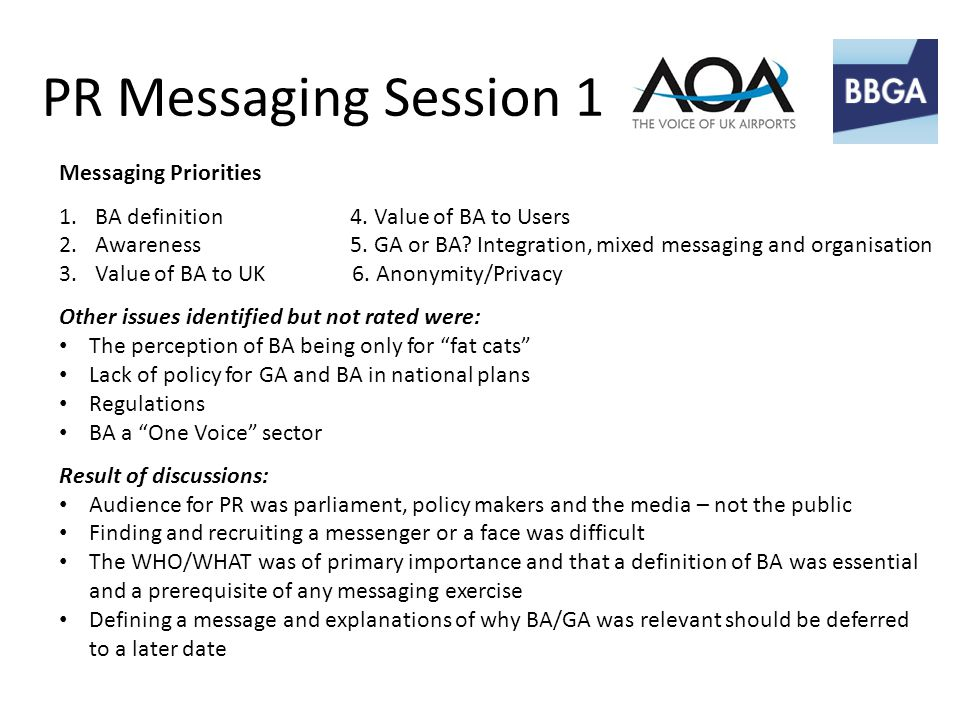 PR Messaging Session 1 Messaging Priorities 1.BA definition 4.