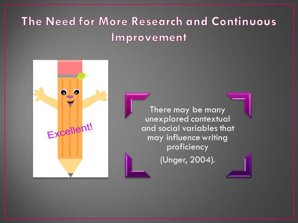 There may be many unexplored contextual and social variables that may influence writing proficiency (Unger, 2004).