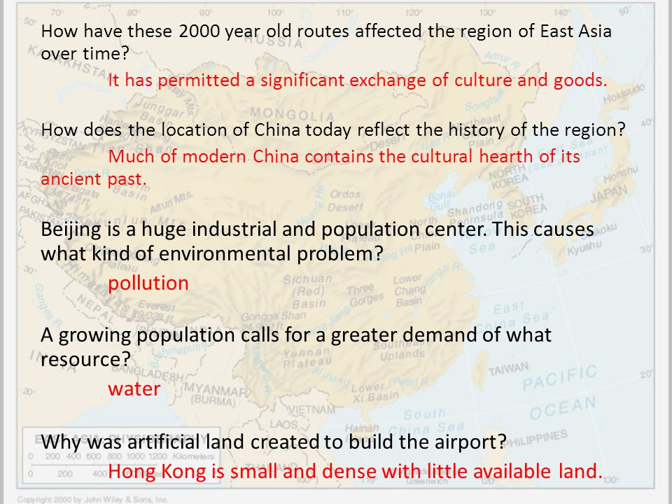 How have these 2000 year old routes affected the region of East Asia over time? It has permitted a significant exchange of culture and goods. How does