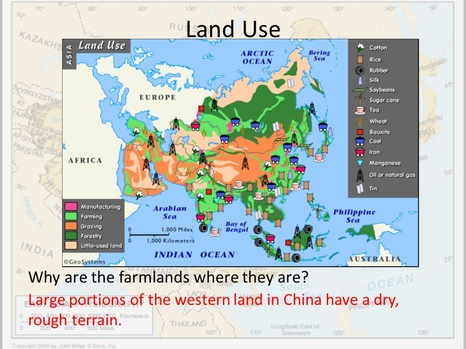 Land Use Why are the farmlands where they are? Large portions of the western land in China have a dry, rough terrain.