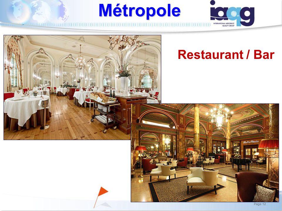 Restaurant / Bar Métropole Page 12