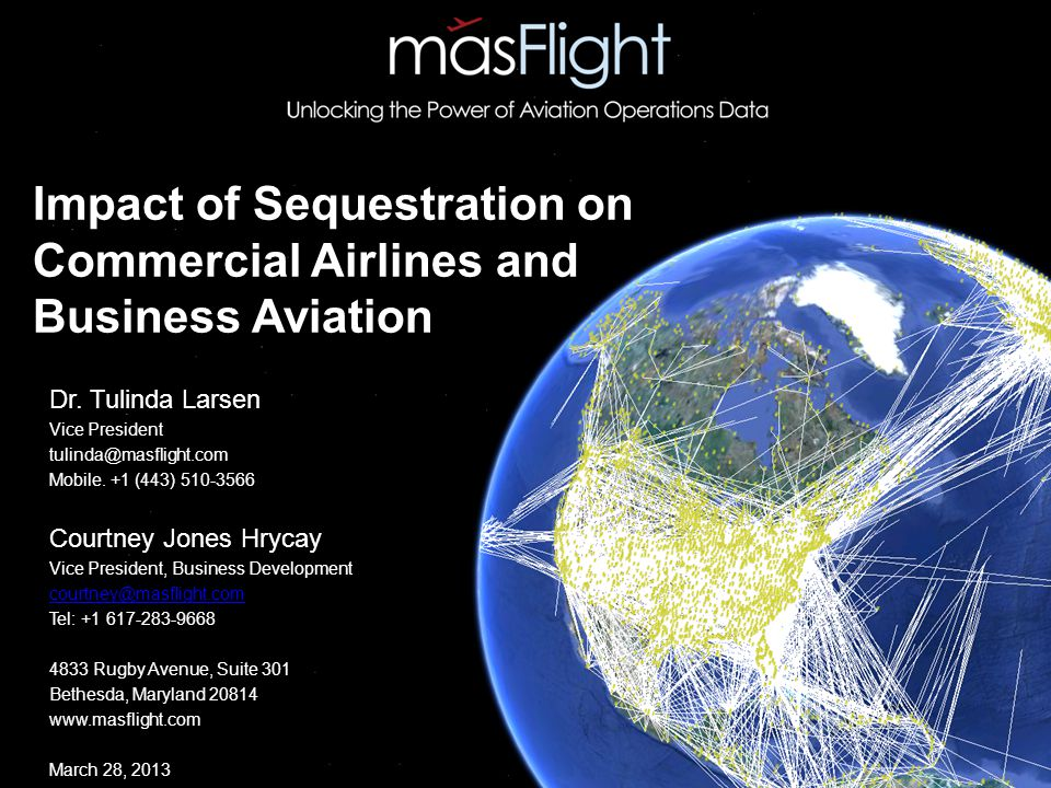 Impact of Sequestration on Commercial Airlines and Business Aviation Dr.