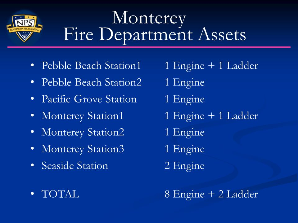 Monterey Fire Department Assets Pebble Beach Station1 1 Engine + 1 Ladder Pebble Beach Station2 1 Engine Pacific Grove Station 1 Engine Monterey Stati