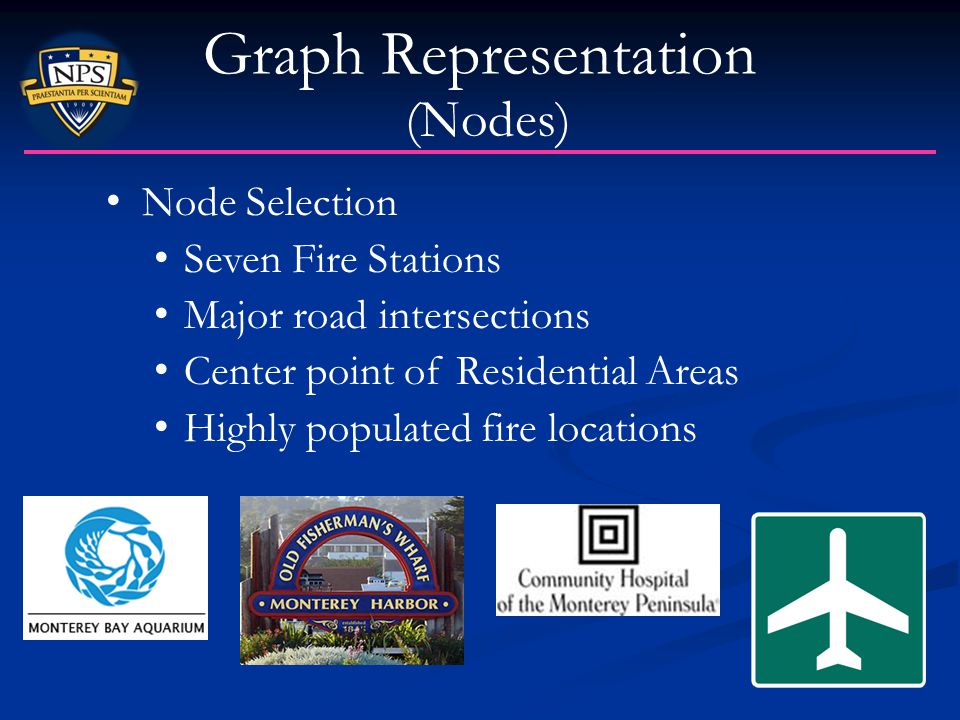 Graph Representation (Nodes) Node Selection Seven Fire Stations Major road intersections Center point of Residential Areas Highly populated fire locat