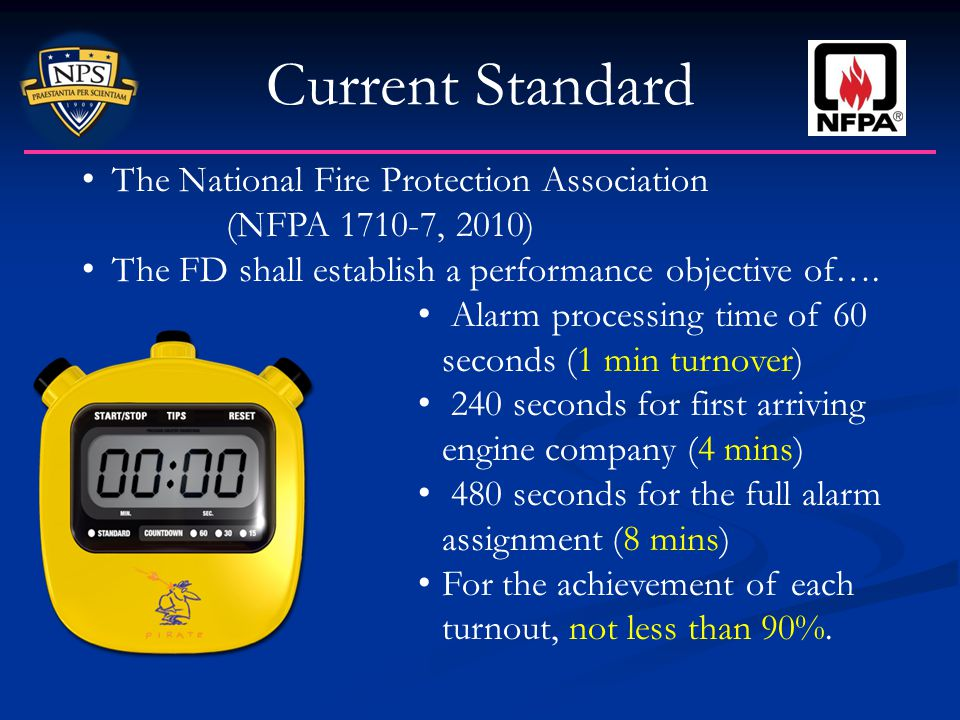 Current Standard The National Fire Protection Association (NFPA 1710-7, 2010) The FD shall establish a performance objective of…. Alarm processing tim