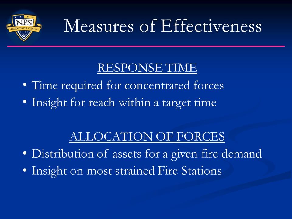 Measures of Effectiveness RESPONSE TIME Time required for concentrated forces Insight for reach within a target time ALLOCATION OF FORCES Distribution