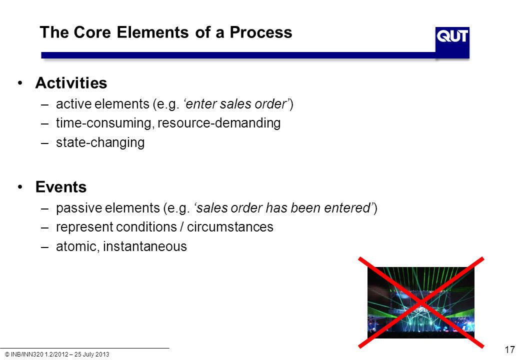 © INB/INN320 1.2/2012 – 25 July 2013 The Core Elements of a Process Activities –active elements (e.g.