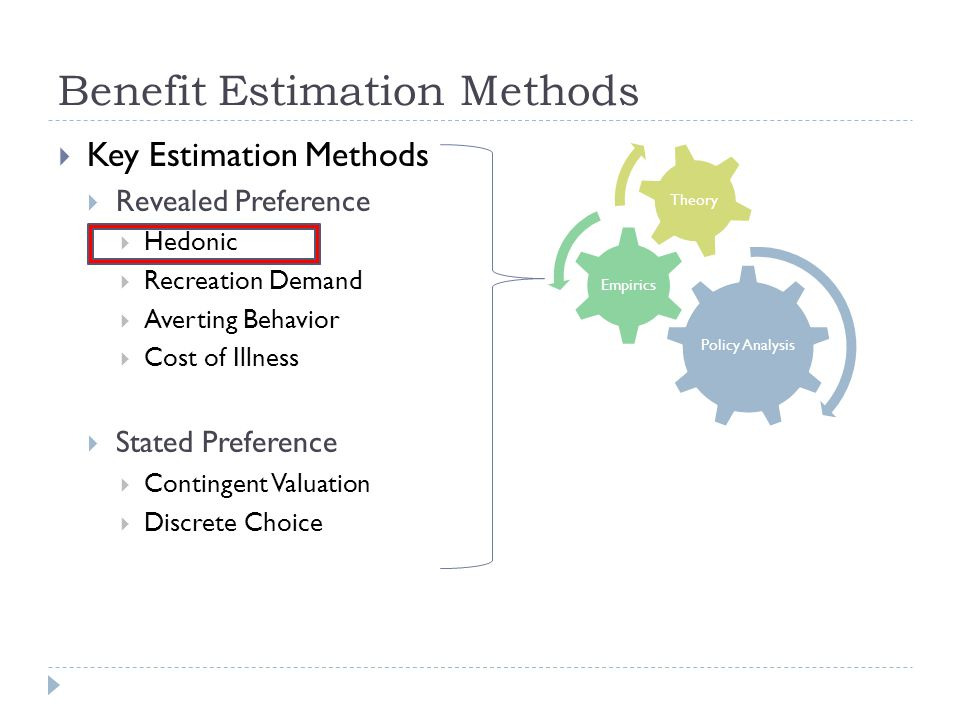 Benefit Estimation Methods Key Estimation Methods Revealed Preference Hedonic Recreation Demand Averting Behavior Cost of Illness Stated Preference Contingent Valuation Discrete Choice Policy Analysis Empirics Theory