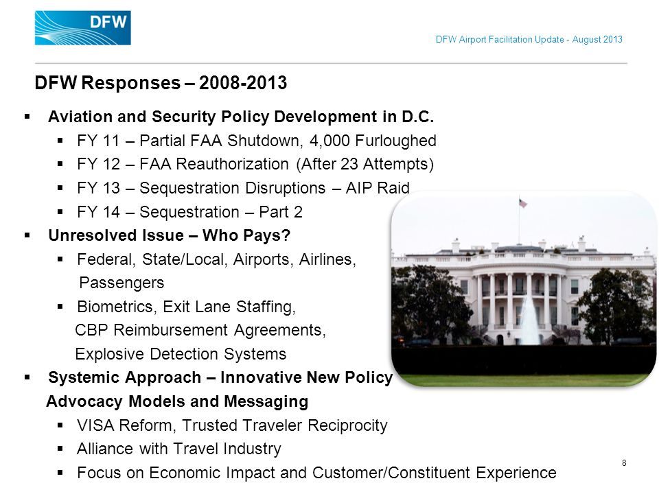 DFW Airport Facilitation Update - August 2013 Aviation and Security Policy Development in D.C. FY 11 – Partial FAA Shutdown, 4,000 Furloughed FY 12 –