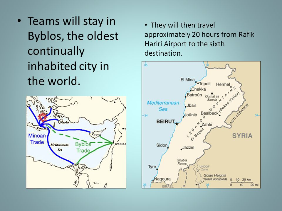 Teams will stay in Byblos, the oldest continually inhabited city in the world.