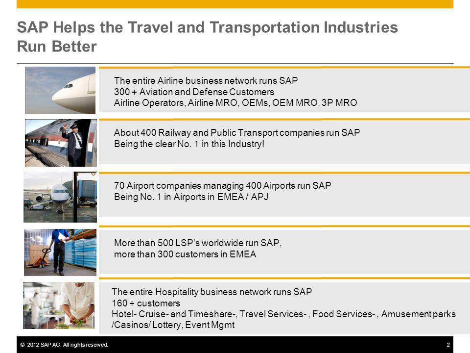 ©2012 SAP AG. All rights reserved.2 SAP Helps the Travel and Transportation Industries Run Better The entire Airline business network runs SAP 300 + A