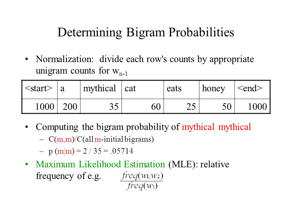 Determining Bigram Probabilities Normalization: divide each row s counts by appropriate unigram counts for w n-1 Computing the bigram probability of mythical mythical –C(m,m)/C(all m-initial bigrams) –p (m|m) = 2 / 35 =.05714 Maximum Likelihood Estimation (MLE): relative frequency of e.g.