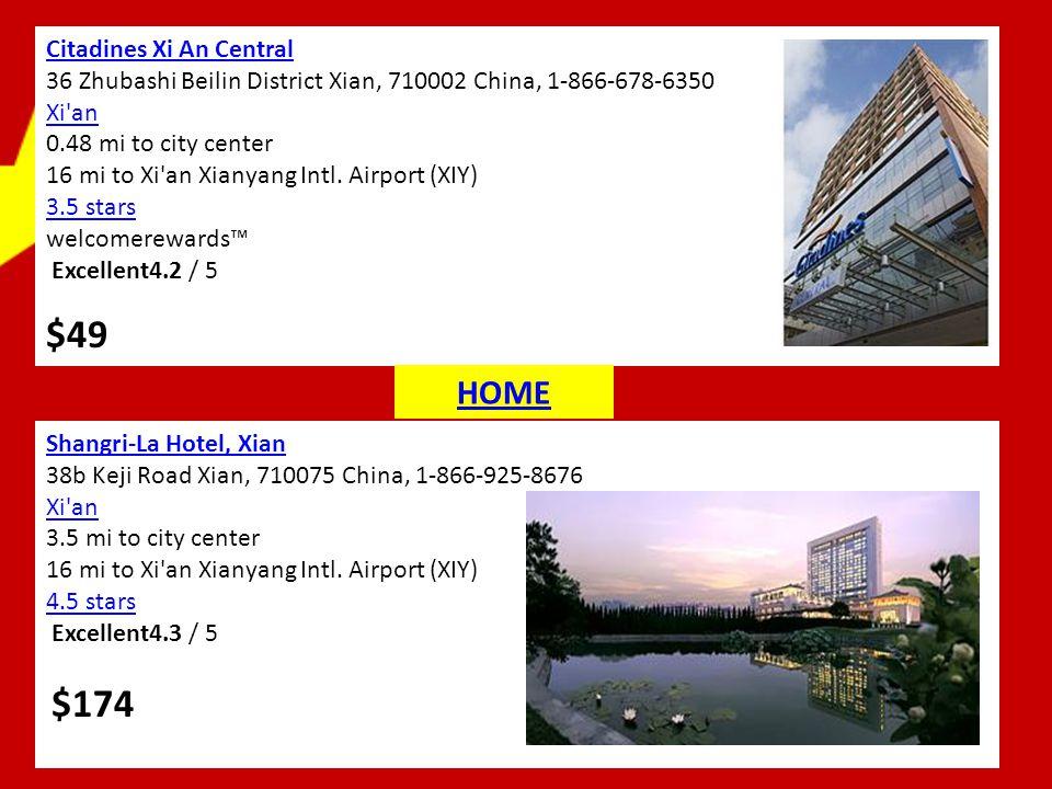 Citadines Xi An Central 36 Zhubashi Beilin District Xian, 710002 China, 1-866-678-6350 Xi'an 0.48 mi to city center 16 mi to Xi'an Xianyang Intl. Airp