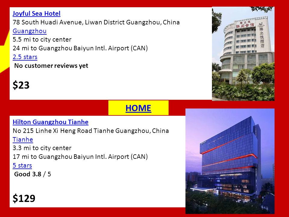 Joyful Sea Hotel 78 South Huadi Avenue, Liwan District Guangzhou, China Guangzhou 5.5 mi to city center 24 mi to Guangzhou Baiyun Intl.