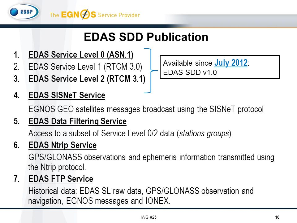 EDAS SDD Publication 1.EDAS Service Level 0 (ASN.1) 2.EDAS Service Level 1 (RTCM 3.0) 3.EDAS Service Level 2 (RTCM 3.1) 4.EDAS SISNeT Service EGNOS GEO satellites messages broadcast using the SISNeT protocol 5.EDAS Data Filtering Service Access to a subset of Service Level 0/2 data ( stations groups ) 6.EDAS Ntrip Service GPS/GLONASS observations and ephemeris information transmitted using the Ntrip protocol.