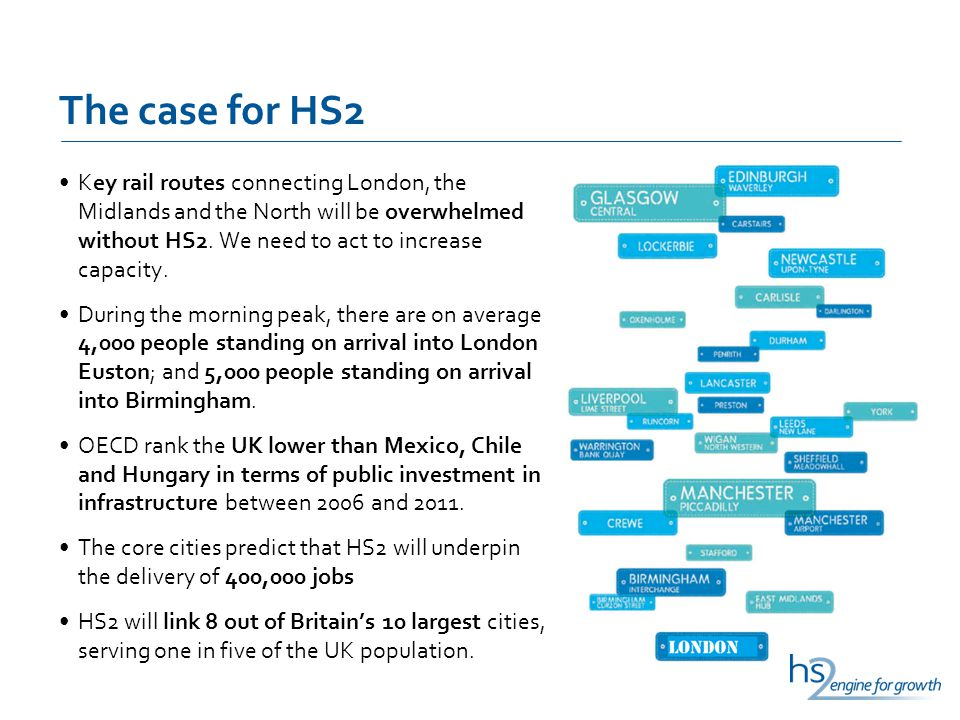 The case for HS2 Key rail routes connecting London, the Midlands and the North will be overwhelmed without HS2.