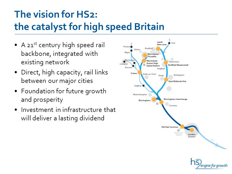 The vision for HS2: the catalyst for high speed Britain A 21 st century high speed rail backbone, integrated with existing network Direct, high capaci