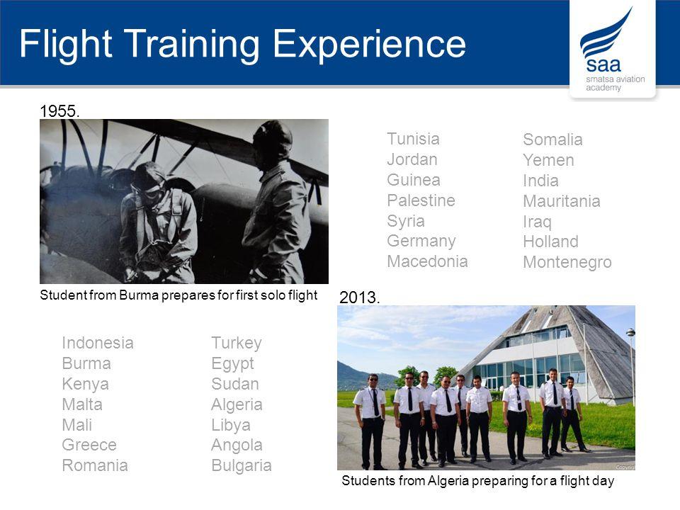 1955. 2013. Student from Burma prepares for first solo flight Students from Algeria preparing for a flight day Indonesia Burma Kenya Malta Mali Greece