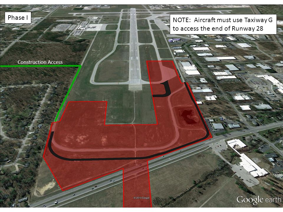 NOTE: Aircraft must use Taxiway G to access the end of Runway 28 Construction Access Phase I