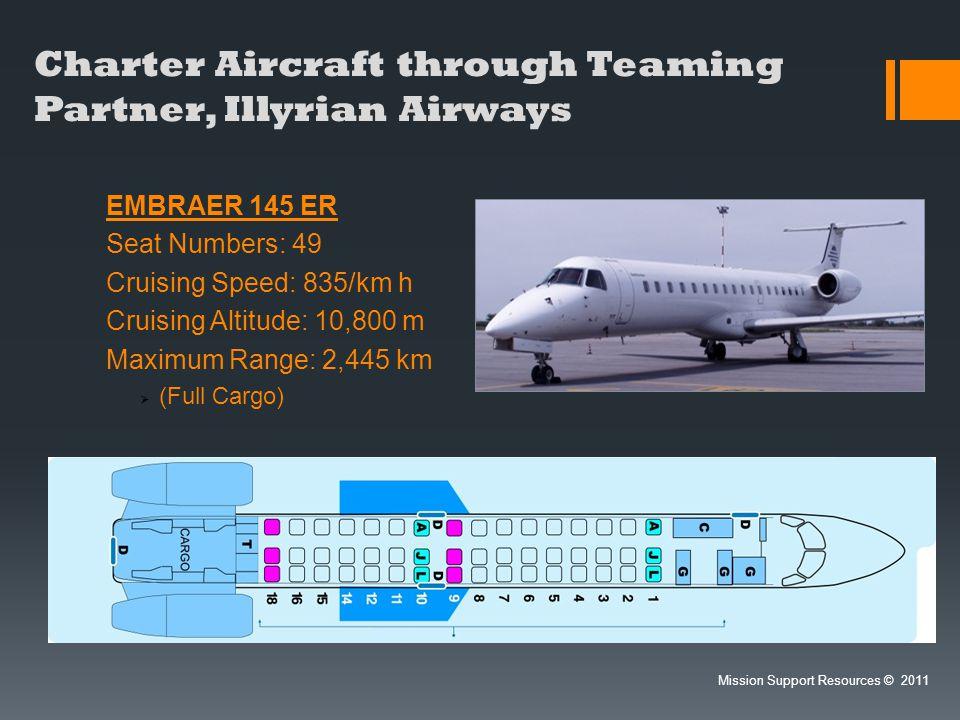 Charter Aircraft through Teaming Partner, Illyrian Airways EMBRAER 145 ER Seat Numbers: 49 Cruising Speed: 835/km h Cruising Altitude: 10,800 m Maximu
