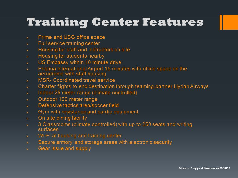 Training Center Mission Support Resources © 2011