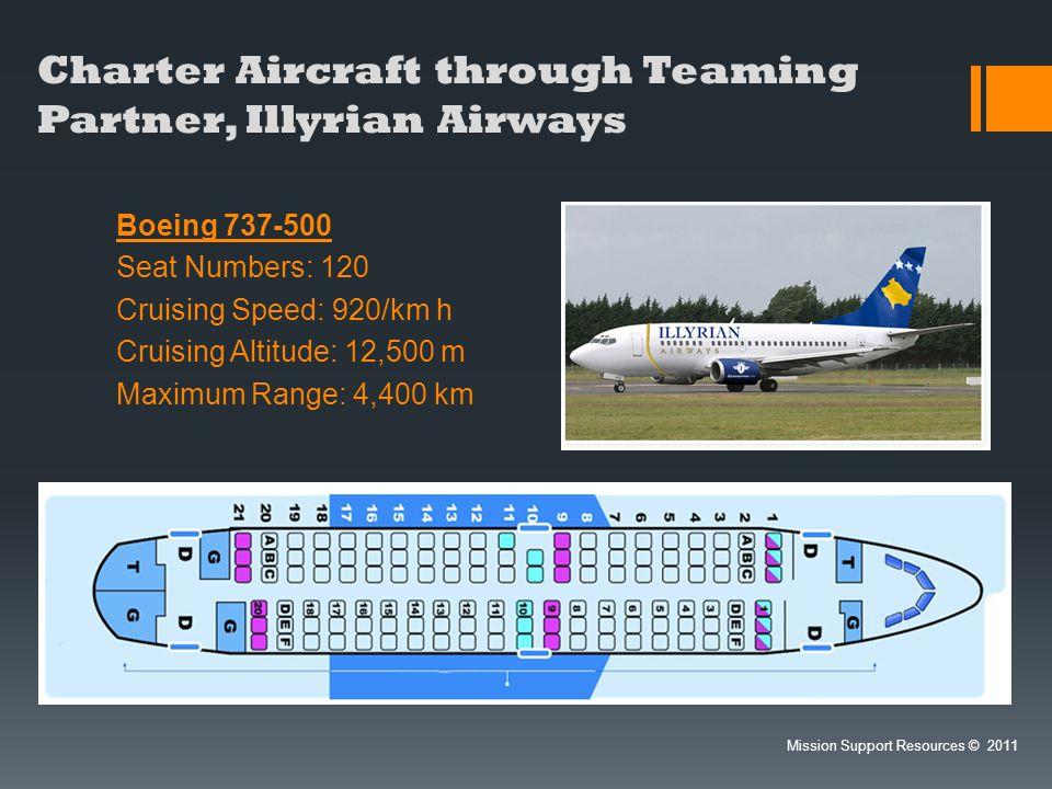 Charter Aircraft through Teaming Partner, Illyrian Airways Boeing 737-500 Seat Numbers: 120 Cruising Speed: 920/km h Cruising Altitude: 12,500 m Maxim