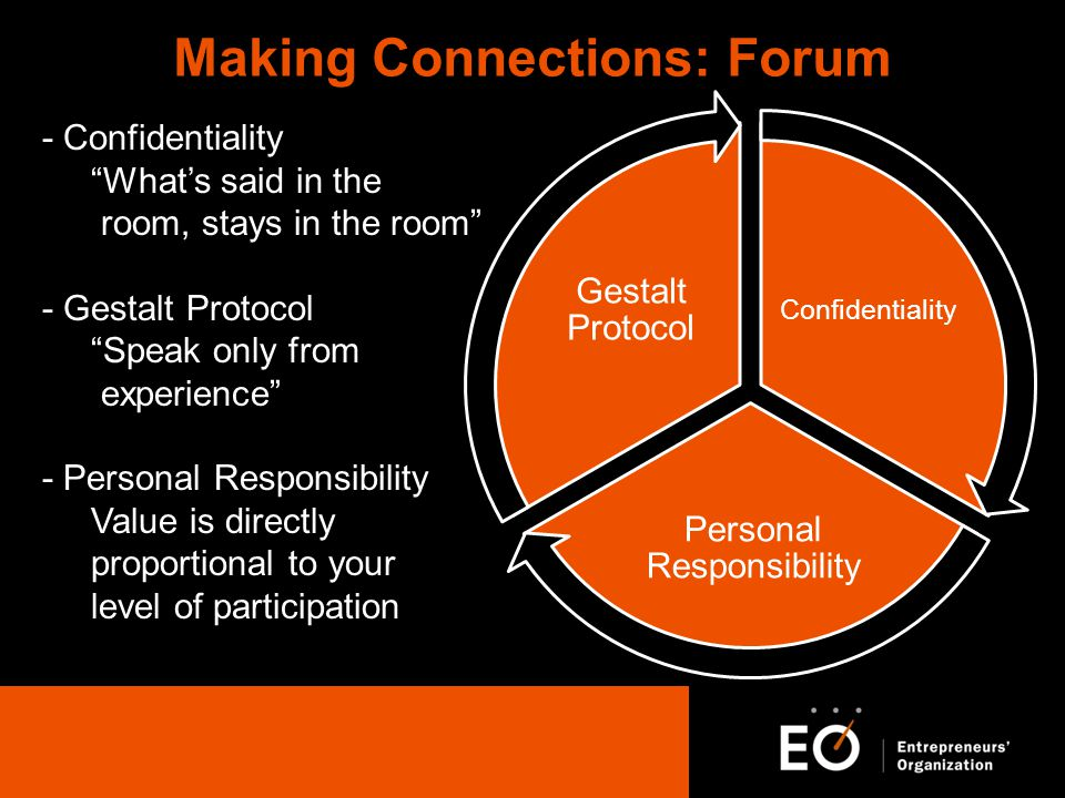 Making Connections: Forum Confidentiality Personal Responsibility Gestalt Protocol - Confidentiality Whats said in the room, stays in the room - Gestalt Protocol Speak only from experience - Personal Responsibility Value is directly proportional to your level of participation