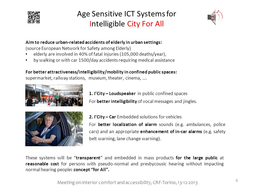 Age Sensitive ICT Systems for Intelligible City For All 1.ICity – Loudspeaker in public confined spaces For better intelligibility of vocal messages and jingles.