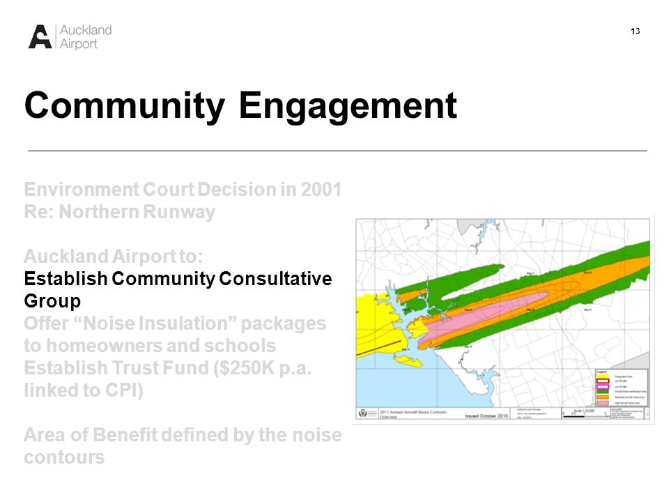 13 Community Engagement Environment Court Decision in 2001 Re: Northern Runway Auckland Airport to: Establish Community Consultative Group Offer Noise Insulation packages to homeowners and schools Establish Trust Fund ($250K p.a.