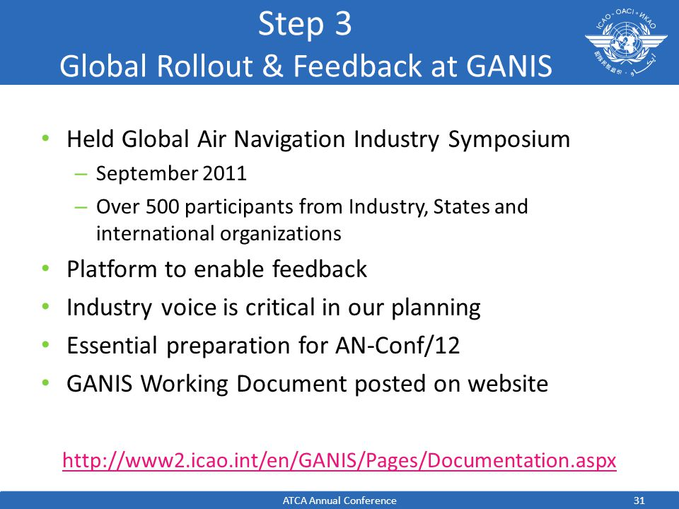 31 Step 3 Global Rollout & Feedback at GANIS Held Global Air Navigation Industry Symposium – September 2011 – Over 500 participants from Industry, States and international organizations Platform to enable feedback Industry voice is critical in our planning Essential preparation for AN-Conf/12 GANIS Working Document posted on website http://www2.icao.int/en/GANIS/Pages/Documentation.aspx ATCA Annual Conference