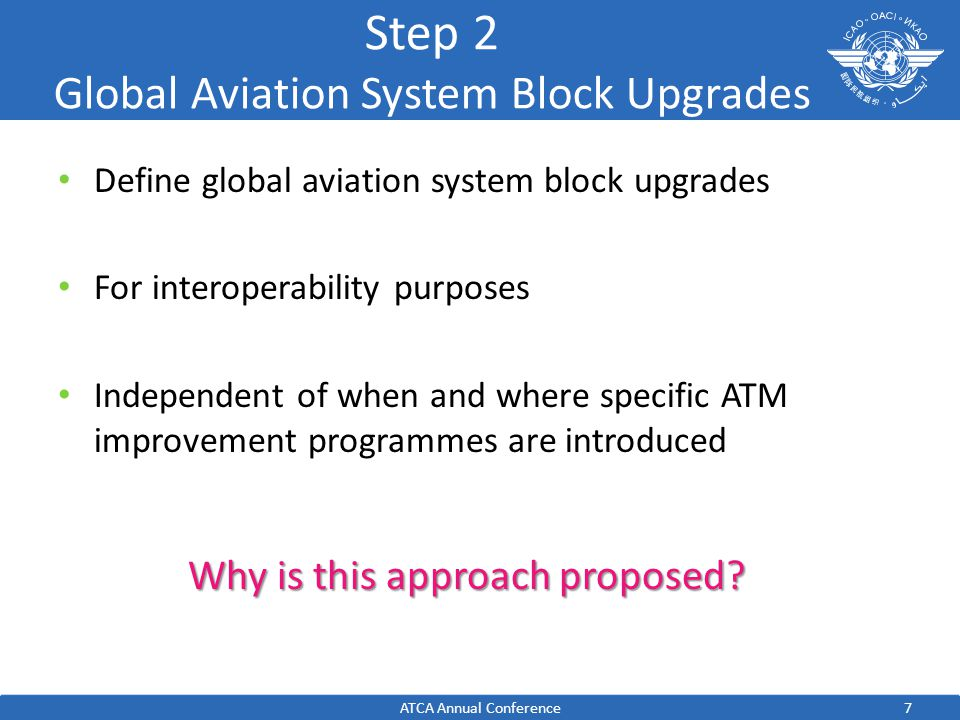 7 Step 2 Global Aviation System Block Upgrades Define global aviation system block upgrades For interoperability purposes Independent of when and where specific ATM improvement programmes are introduced ATCA Annual Conference Why is this approach proposed