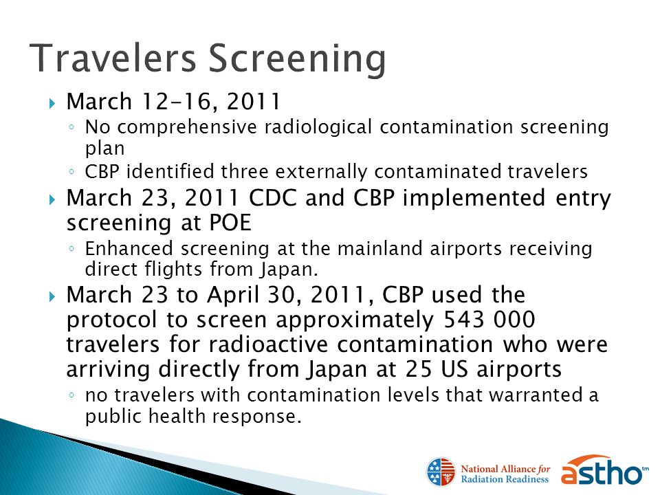 March 12-16, 2011 No comprehensive radiological contamination screening plan CBP identified three externally contaminated travelers March 23, 2011 CDC