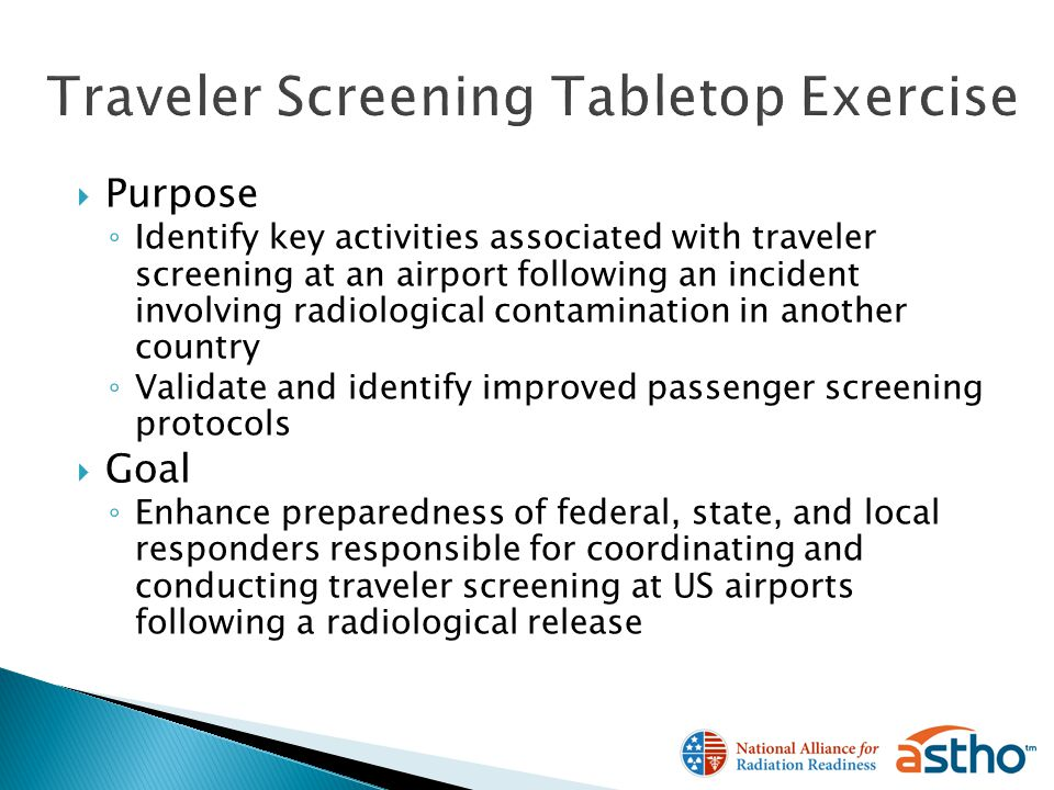 Purpose Identify key activities associated with traveler screening at an airport following an incident involving radiological contamination in another