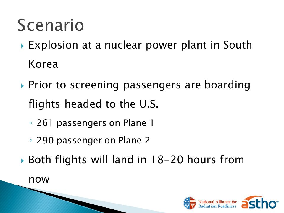 Explosion at a nuclear power plant in South Korea Prior to screening passengers are boarding flights headed to the U.S.